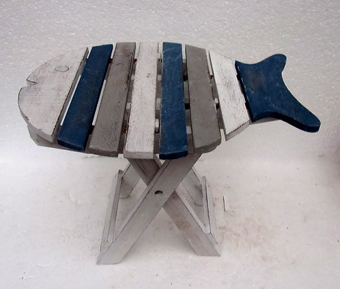 Shabby Chic Folding Fish Table in Blue Grey White