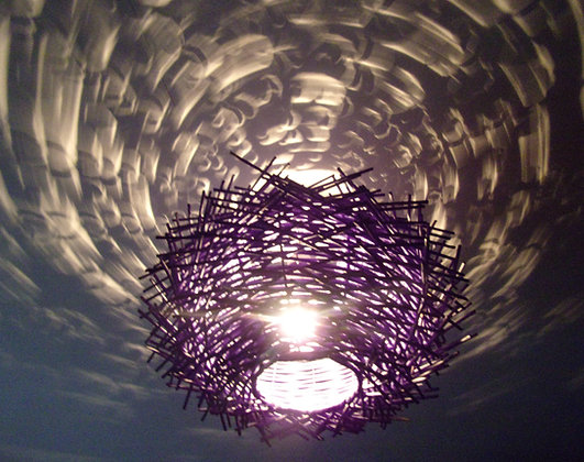 Birds Nest ceiling lamp shade Dark Rattan 35cm