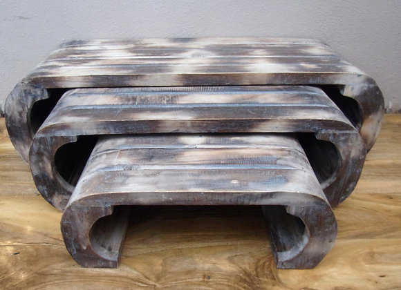 Rustic Nest of 3 Stacking Tables Shabby Chic