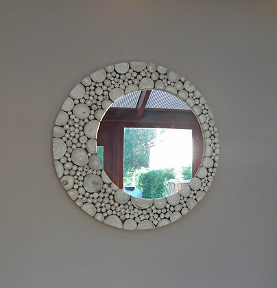 Hand Made Wood Slice - Off Set Mirror