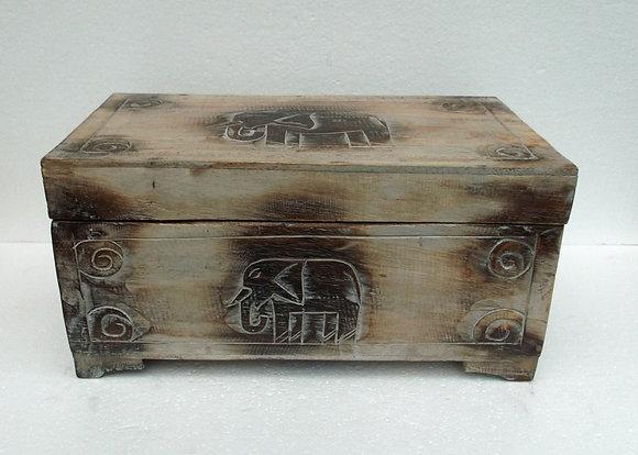 Elephant carved Storage chest Trunk - Medium
