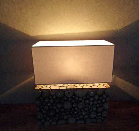 Wood slice block lamp
