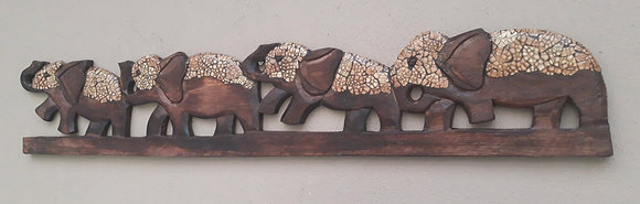 Wood & Natural Egg Shell Elephant Wall Plaque 100cm