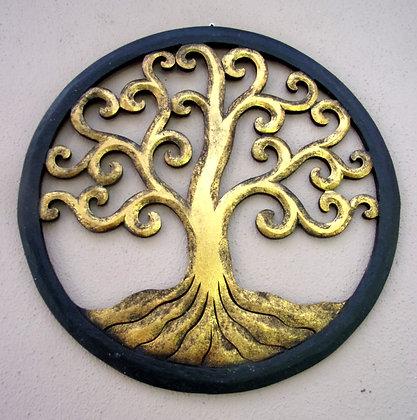 Tree of Life Wall Art Gold Black