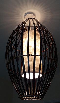 "Bamboo & White Shell ""Bird Cage"" Lamp Shade"