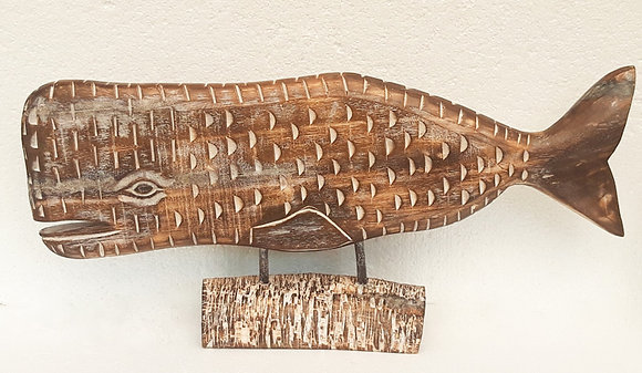Large Shabby Chic Wooden Whale Carving 75cm