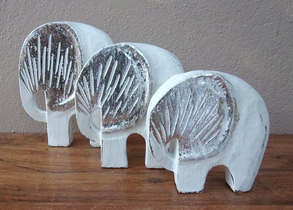 Set 3 Shabby Chic Whitewash Elephants