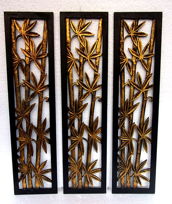Set of 3 Gold Bamboo Forest Wall Art