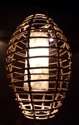 "Rattan & White Shell ""Bird Cage "" Lamp Shade"