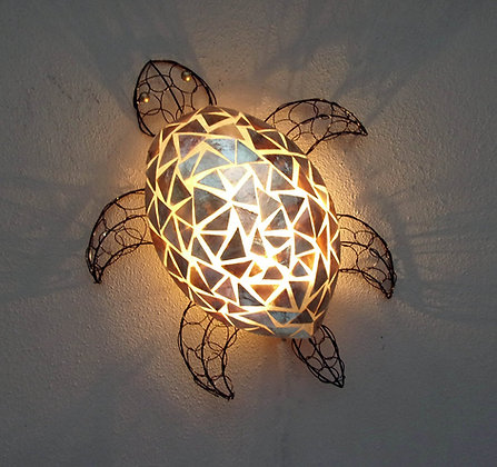 Unusual Gold Shell Turtle Wall Lamp Shade Hand Made Bali Shell Lamp Shade