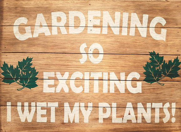 "Hand Painted Wooden Wall Plaque "" Gardening so Exciting "" 50cm"