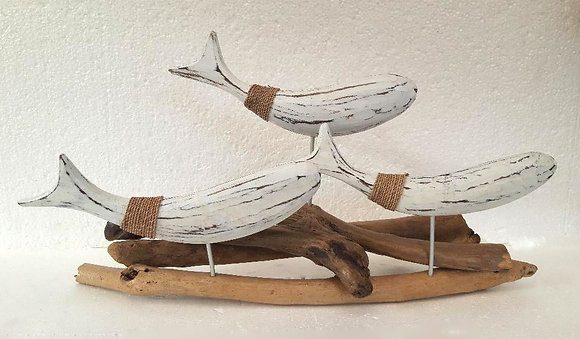 Unusual Abstract Whitewash Shabby Chic Fish on Driftwood 50cm