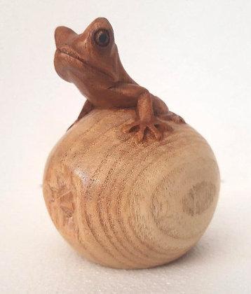 Carved Wooden Frog on Apple