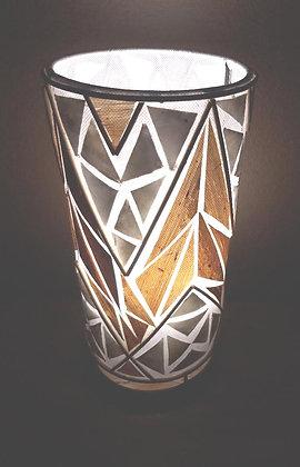 Banana Leaf & White Shell Cylinder Lamp 30cm