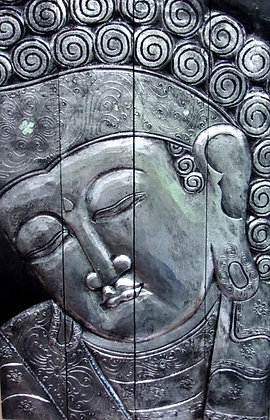 Hand Carved Large Buddha Wall Plaque Black/Silver