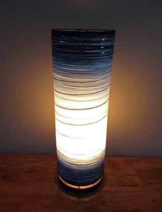 Black & White Cylinder Lamp Ethnic Bali Lamp 50cm