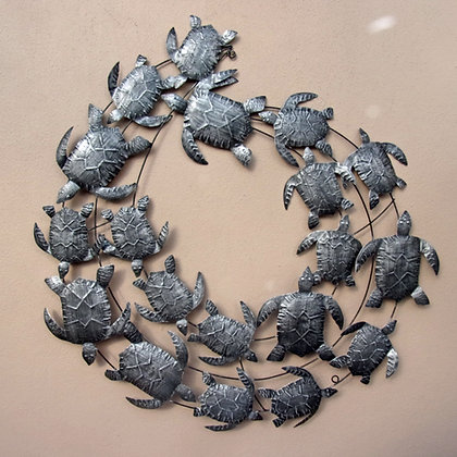 Silver Turtle Shoal Metal Wall Art