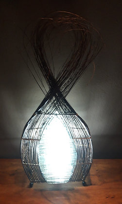 Unusual Hand Made Stripped Glass Ethnic Bali Lamp