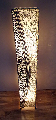 Bamboo & Twisted Rattan Natural Floor Lamp 150cm