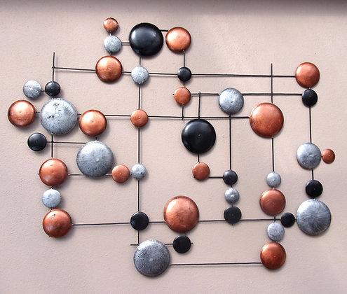 Copper Silver Black Metal Circles Giant 3D Wall Art