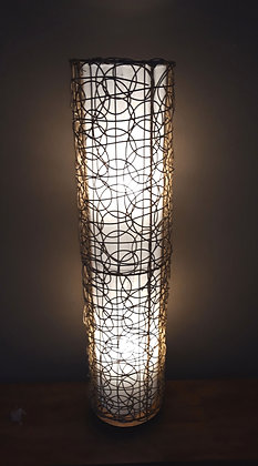 Natural White Cylinder & Twisted Rattan Ethnic Floor Lamp 100cm