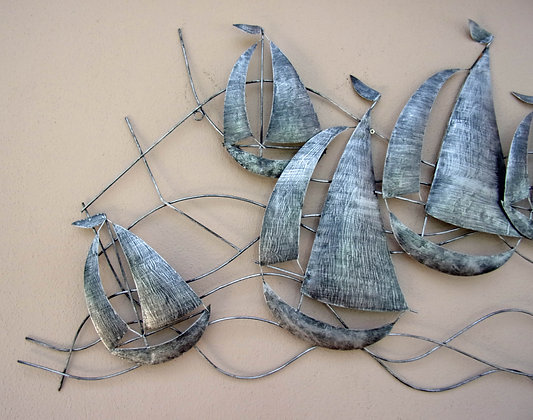 Large Metal Sailing Ships 3D Wall Art - Silver