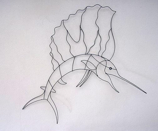 Hand Made Sword Fish Abstract Wall Art 100cm