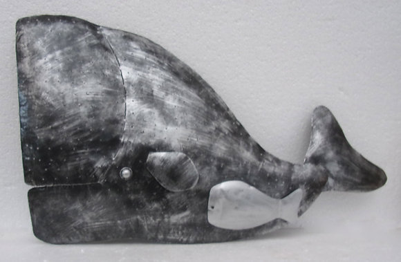 Large Silver Whale Mother & Baby Wall Art