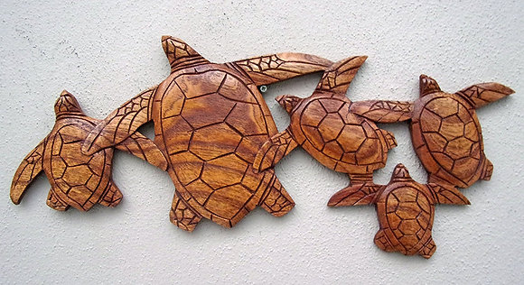 Hand Carved Turtle Family Wall Plaque