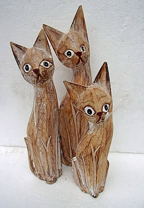 Shabby Chic Set of 3 Wooden Cats
