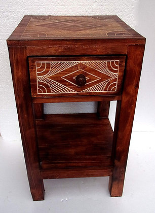 Rustic Carved Lamp Table with drawer