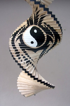 Hand Made Natural Tribal Yin Yang wind spinner Mobile 40cm