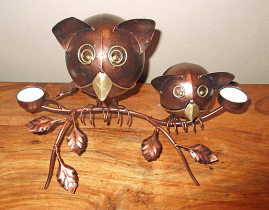 Metal Owls T Light Holder Ornament -Copper colour