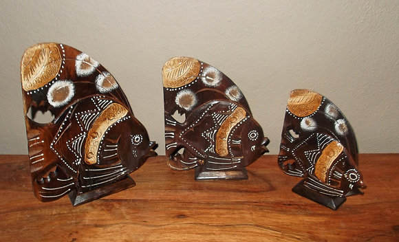 Hand Carved Bali Angel Fish Ornaments -Set of 3