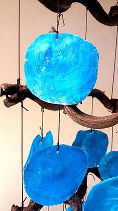 Giant Blue Capiz Shell Wind Chime Mobile