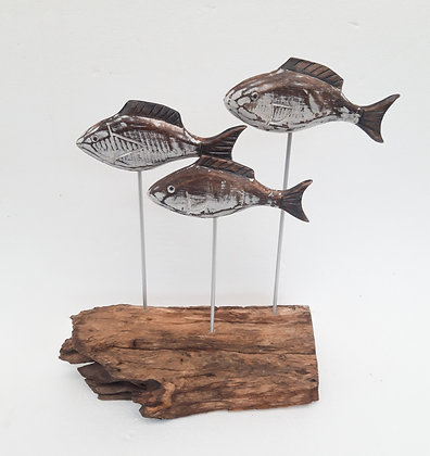Shabby Chic Fish Shoal on Stand 33cm