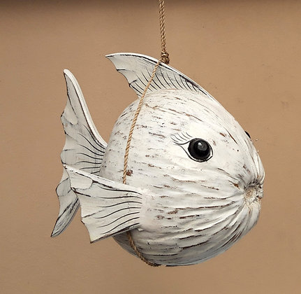 Hand Carved Coconut Puffer Fish Mobile