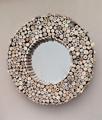 Large Hand Made Driftwood Mirror Round  75cm