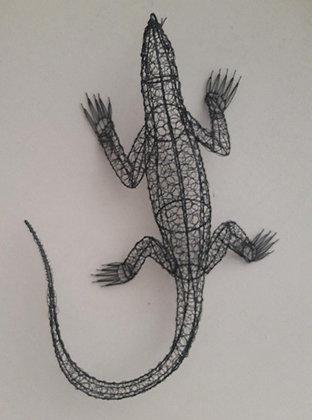 Twisted Black Wire Monitor Lizard wall art 70cm