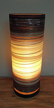 Hand Made Cream & Brown Cylinder Lamp - Small