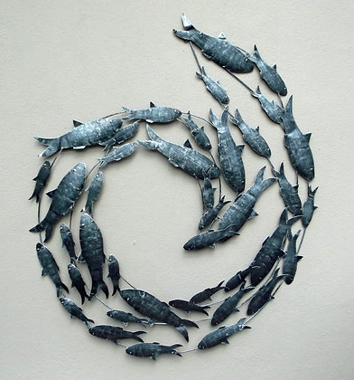 Silver Circle Fish Shoal Wall Art