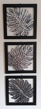 Set of 3 Distressed Silver Fern Wall Art Plaques