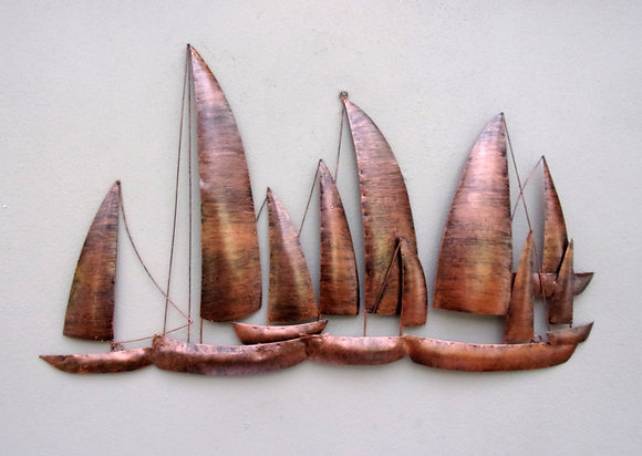 Copper Sailing Ships Wall Art - Contemporary Style