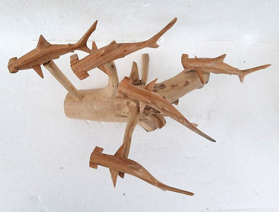 Hand Carved Hammerhead Shark Shoal on wood
