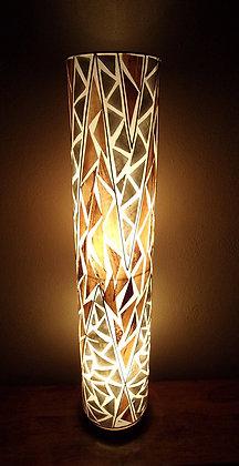 Banana Leaf & White Shell Cylinder Lamp 100cm