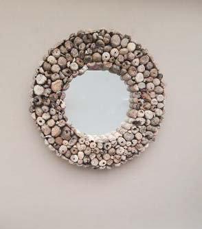 Large Hand Made Driftwood Mirror Round  70cm
