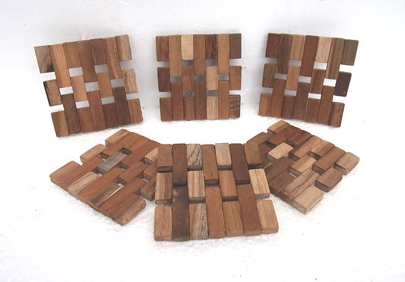 Set of 6 Unique Hand Made Teak wood Coaster mats
