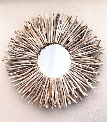 Driftwood Sun Mirror Round 80cm