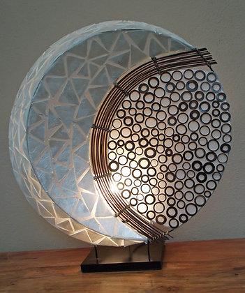 Large 3D bali moon lamp - shell and bamboo