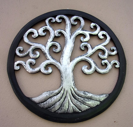 Tree of Life Silver Black  Wall Art 40cm